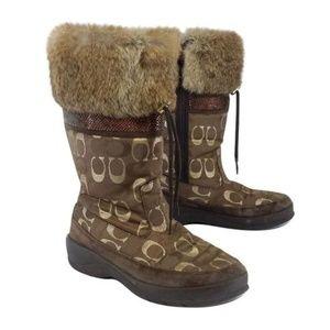 Coach Lizzie Gold & Brown Monogram Fur Boots